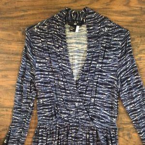 Blue/cream geometric print dress H&M - Sz S